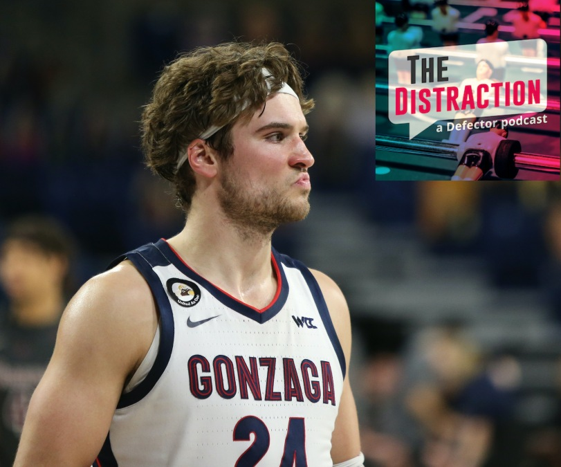 Gonzaga's Corey Kispert, seen here honestly kind of mad-dogging The Distraction logo.