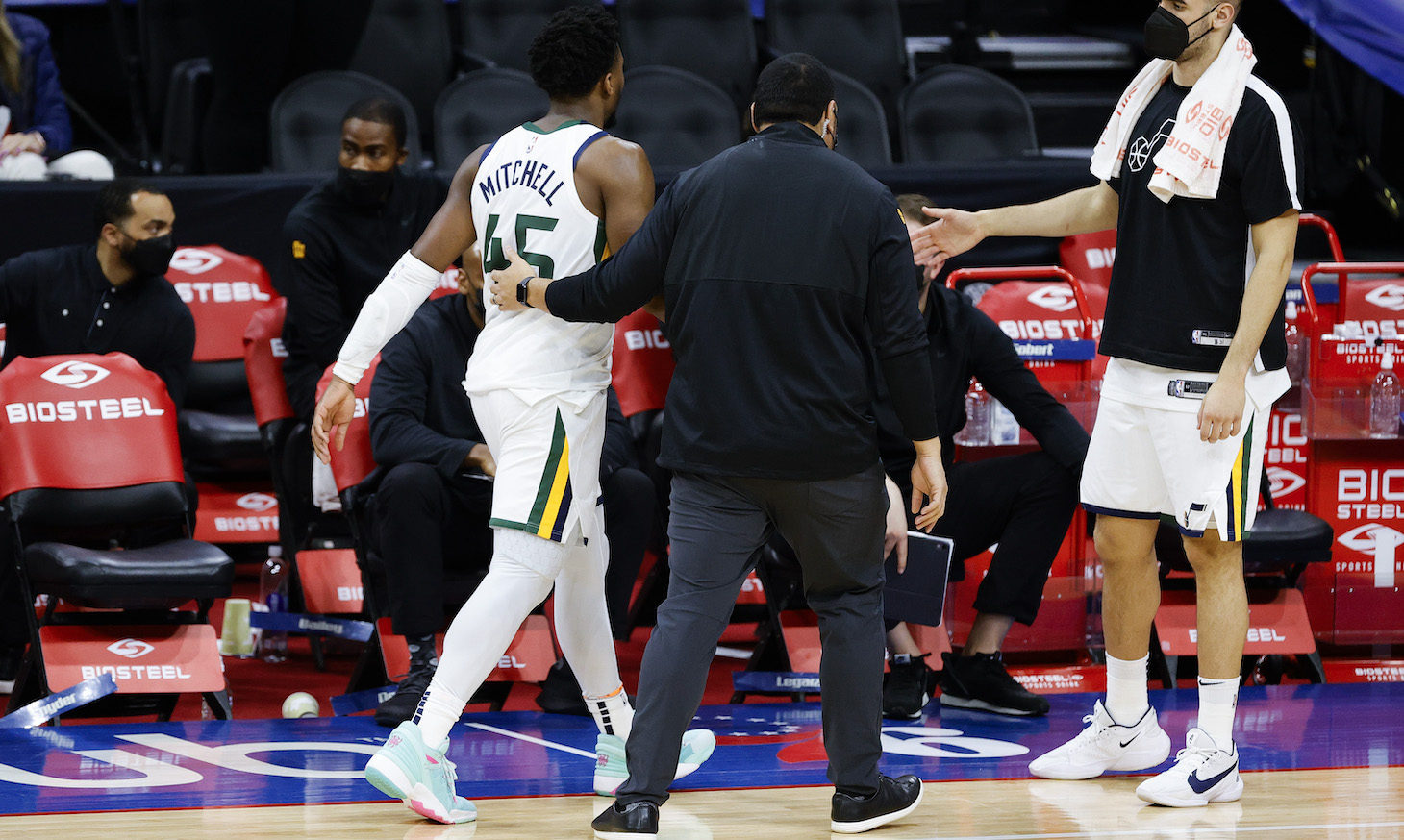 PHILADELPHIA, PENNSYLVANIA - MARCH 03: Donovan Mitchell #45 of the Utah Jazz is escorted off the court after being ejected during overtime against the Philadelphia 76ers at Wells Fargo Center on March 03, 2021 in Philadelphia, Pennsylvania. NOTE TO USER: User expressly acknowledges and agrees that, by downloading and or using this photograph, User is consenting to the terms and conditions of the Getty Images License Agreement. (Photo by Tim Nwachukwu/Getty Images)