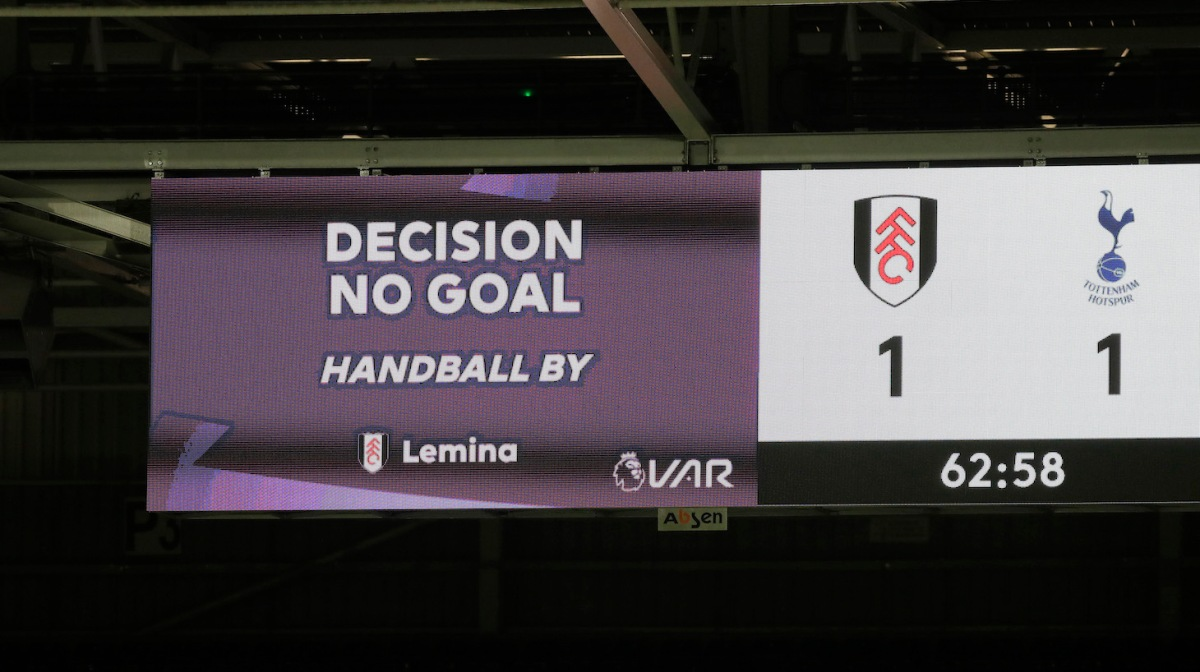 The big screen inside the stadium shows that a VAR review has decided to disallow a goal scored by Josh Maja of Fulham (not pictured) during the Premier League match between Fulham and Tottenham Hotspur at Craven Cottage on March 04, 2021 in London, England.
