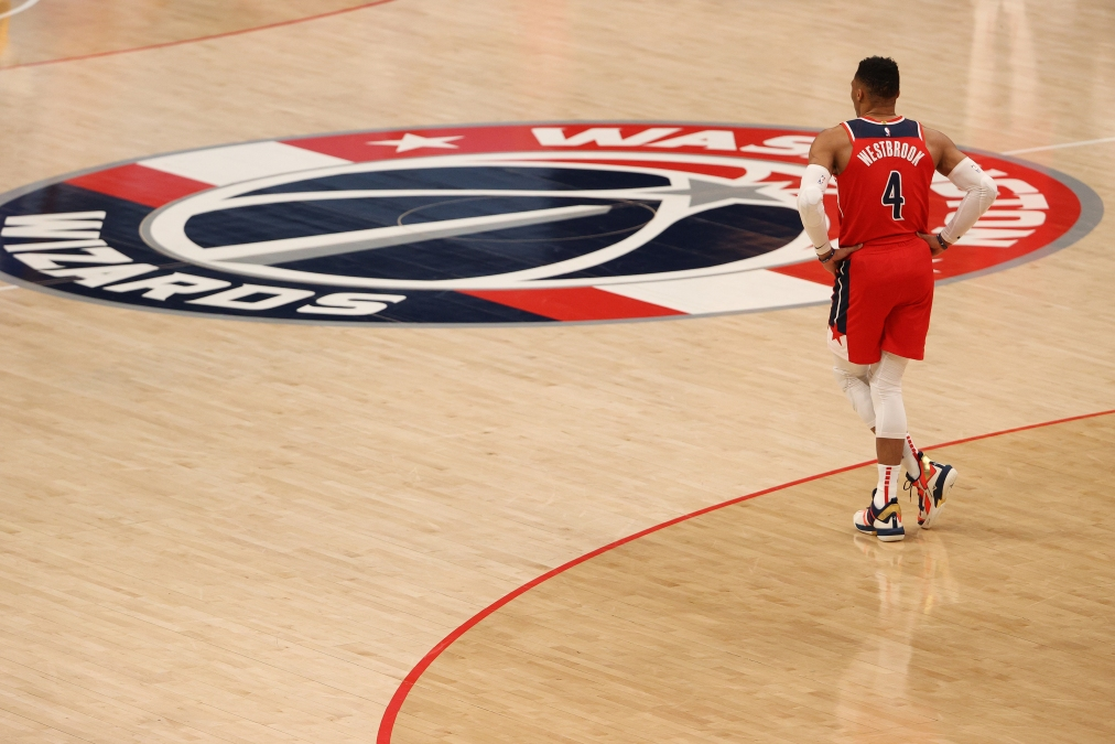 Russell Westbrook walks toward the center court logo during another Wizards loss.