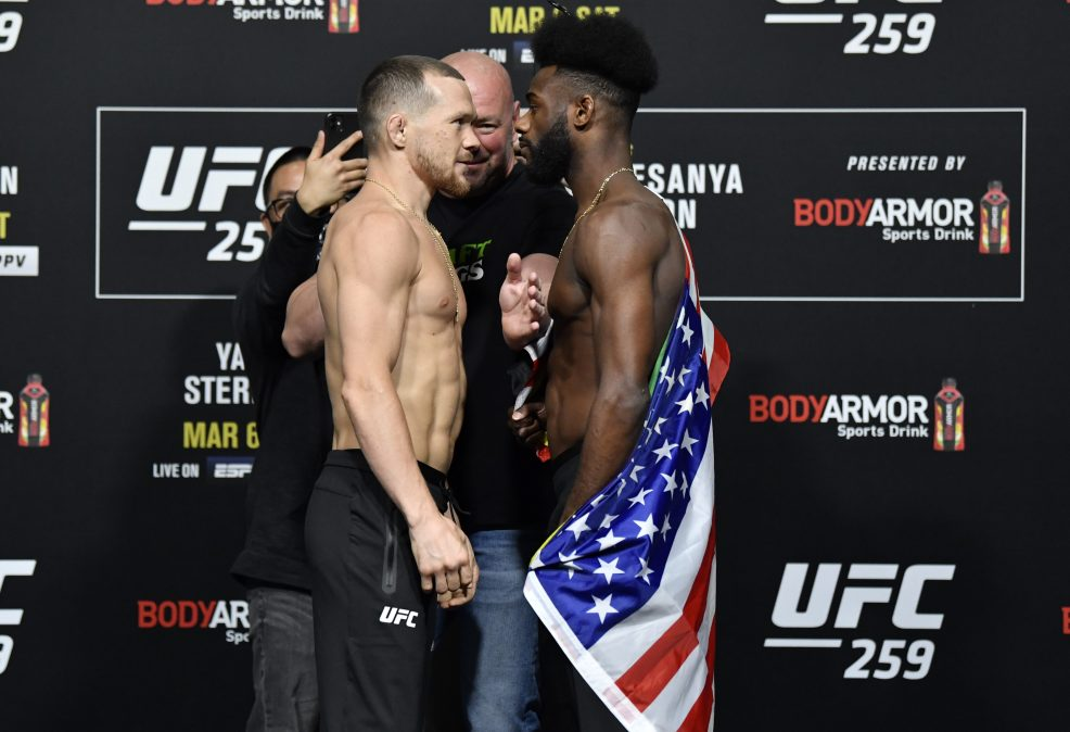 Petr Yan of Russia and Aljamain Sterling face off
