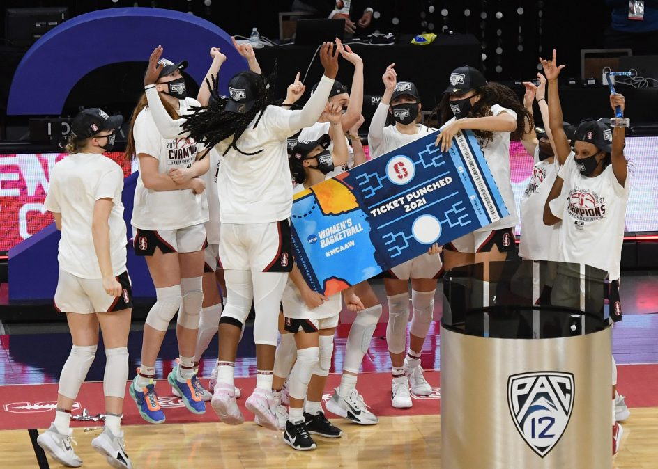The Stanford Cardinal celebrate on the court after their 75-55 victory over the UCLA Bruins to win the championship game of the Pac-12 Conference women's basketball tournament at Michelob ULTRA Arena on March 7, 2021 in Las Vegas, Nevada.