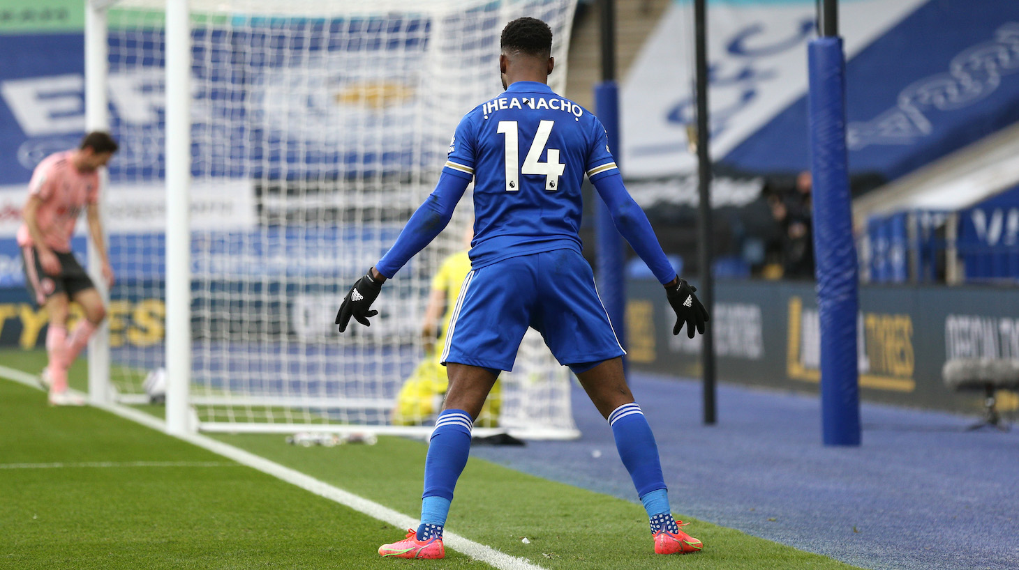 Kelechi Iheanacho of Leicester City celebrates after scoring their side's first goal during the Premier League match between Leicester City and Sheffield United at The King Power Stadium on March 14, 2021 in Leicester, England.