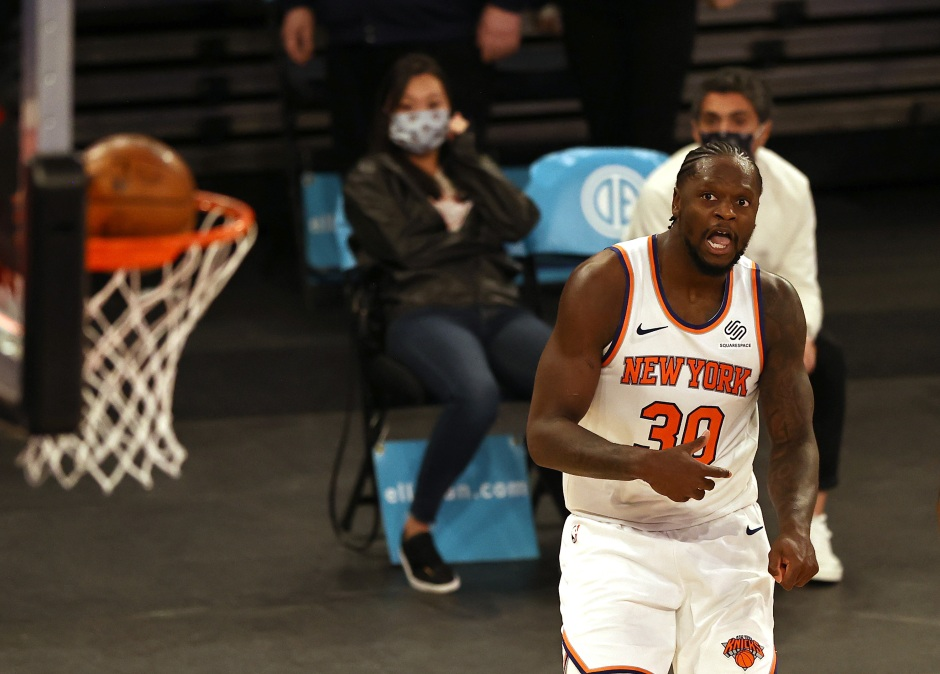 Julius Randle of the Knicks watches his shot.