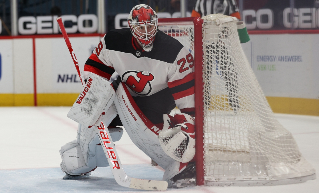 WASHINGTON, DC - MARCH 25: Goalie Mackenzie Blackwood #29 of the New Jersey Devils tends the net against the Washington Capitals during the second period at Capital One Arena on March 25, 2021 in Washington, DC. (Photo by Patrick Smith/Getty Images)