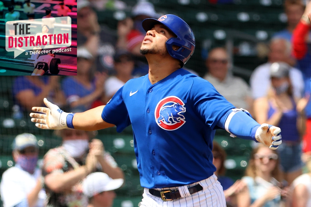A Chicago Cubs player seen here exulting in the presence of The Distraction logo.