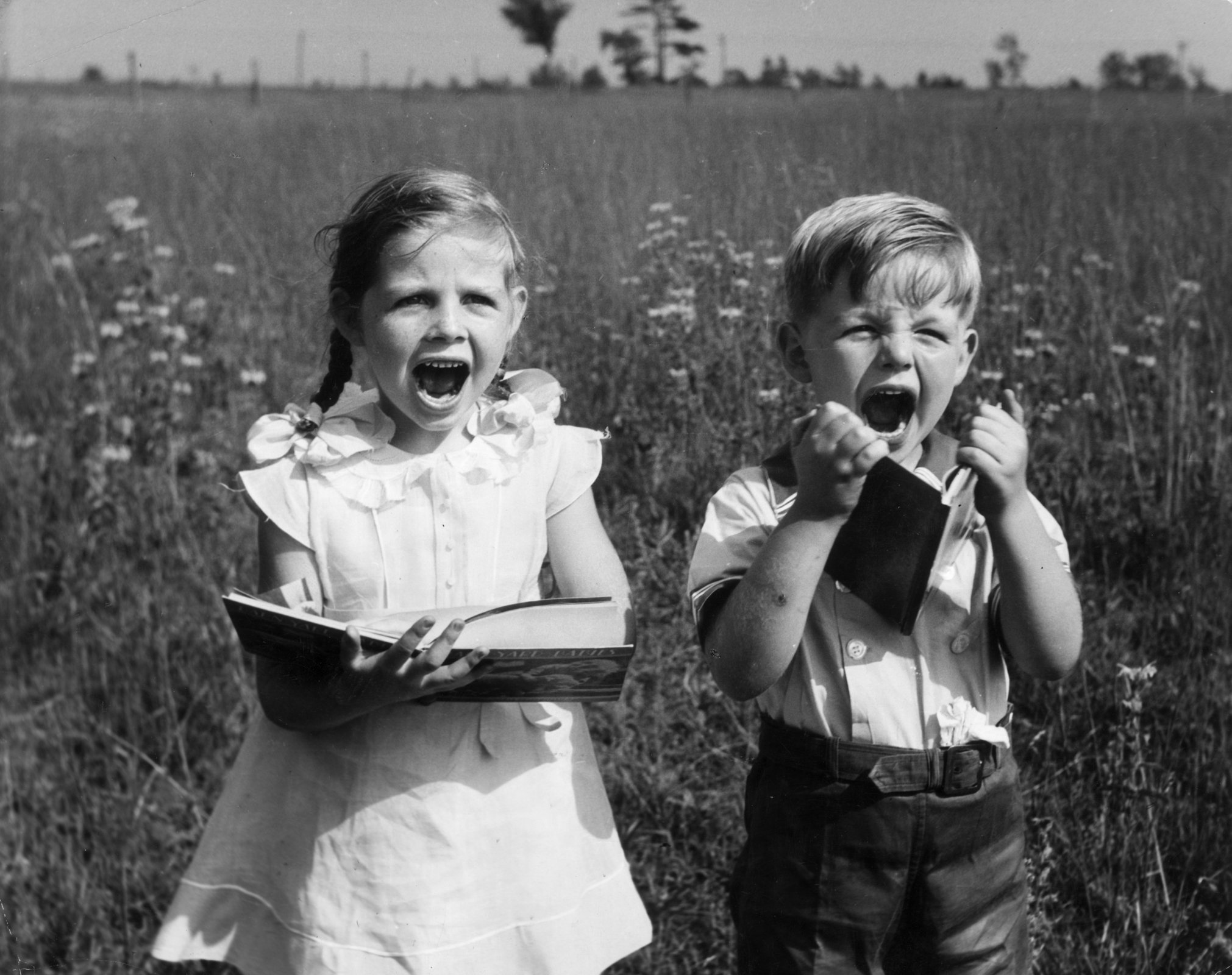 A young boy and girl stand in a farm field holding storybooks and screaming.