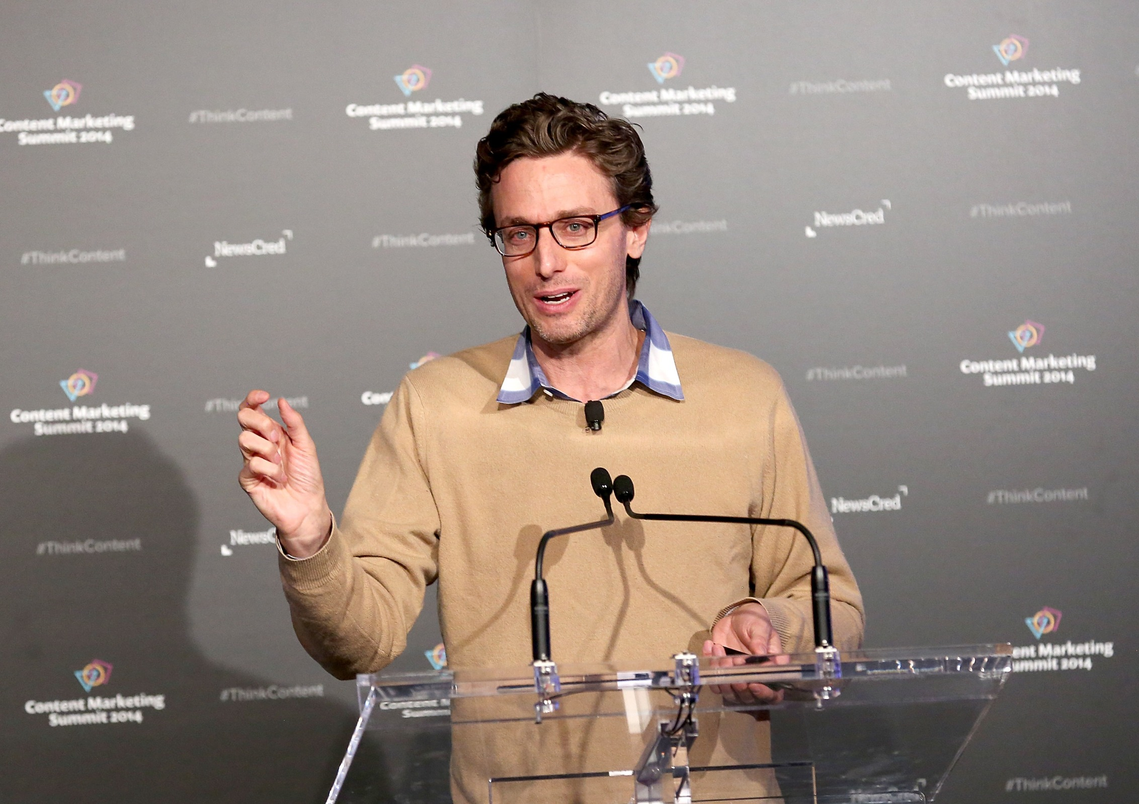 Jonah Peretti, CEO, Buzzfeed speaks at NewsCred's Content Marketing Summit at Metropolitan Pavilion on September 18, 2014 in New York City.