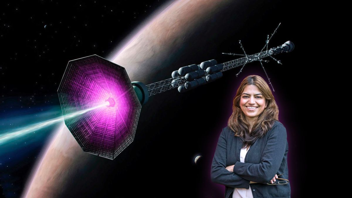 """Fatima Ebrahimi of PPPL and an illustration of her proposed """"plasmoid rocket"""" concept."""