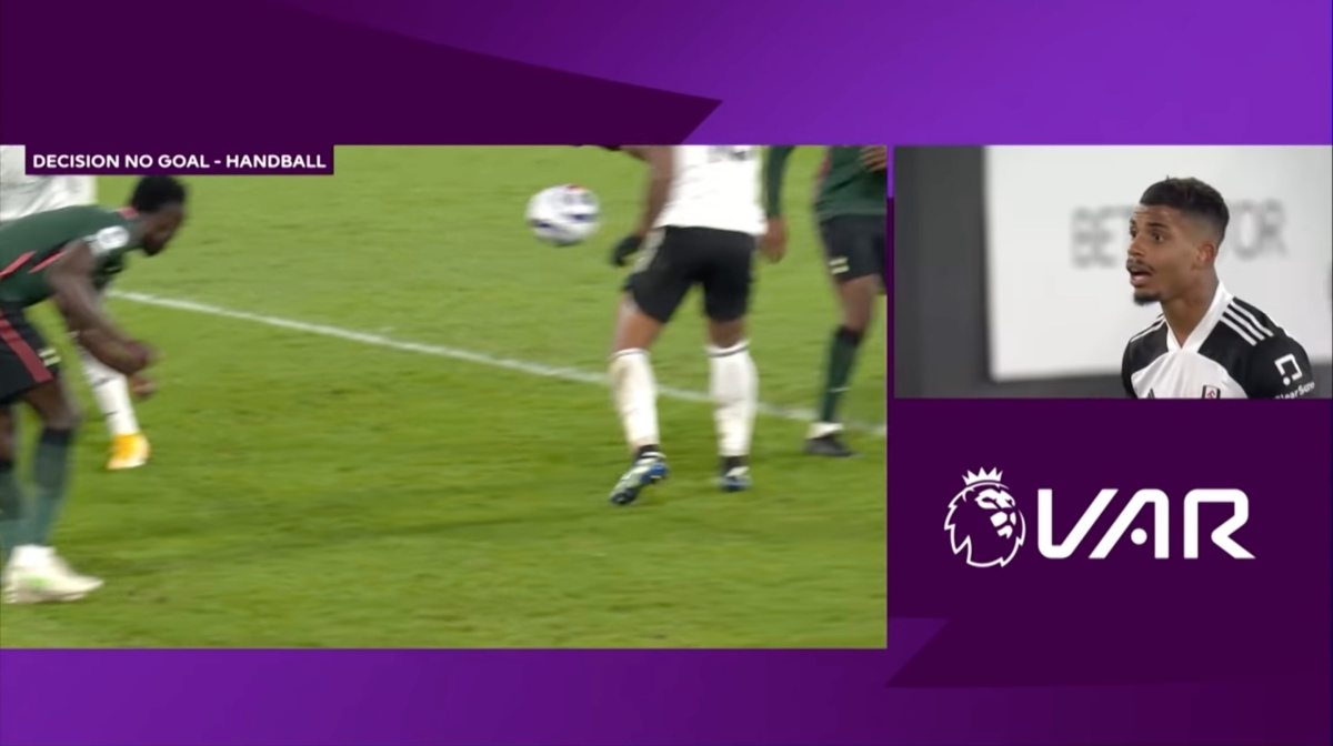Upon further review, VAR disallows a Fulham goal against Tottenham due to the dumb handball rule.