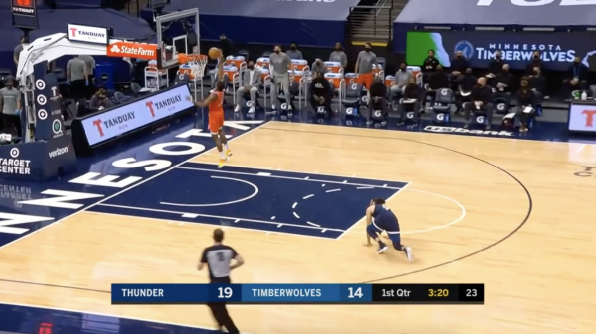 Thunder rookie Theo Maladon, missing a layup with no one near him