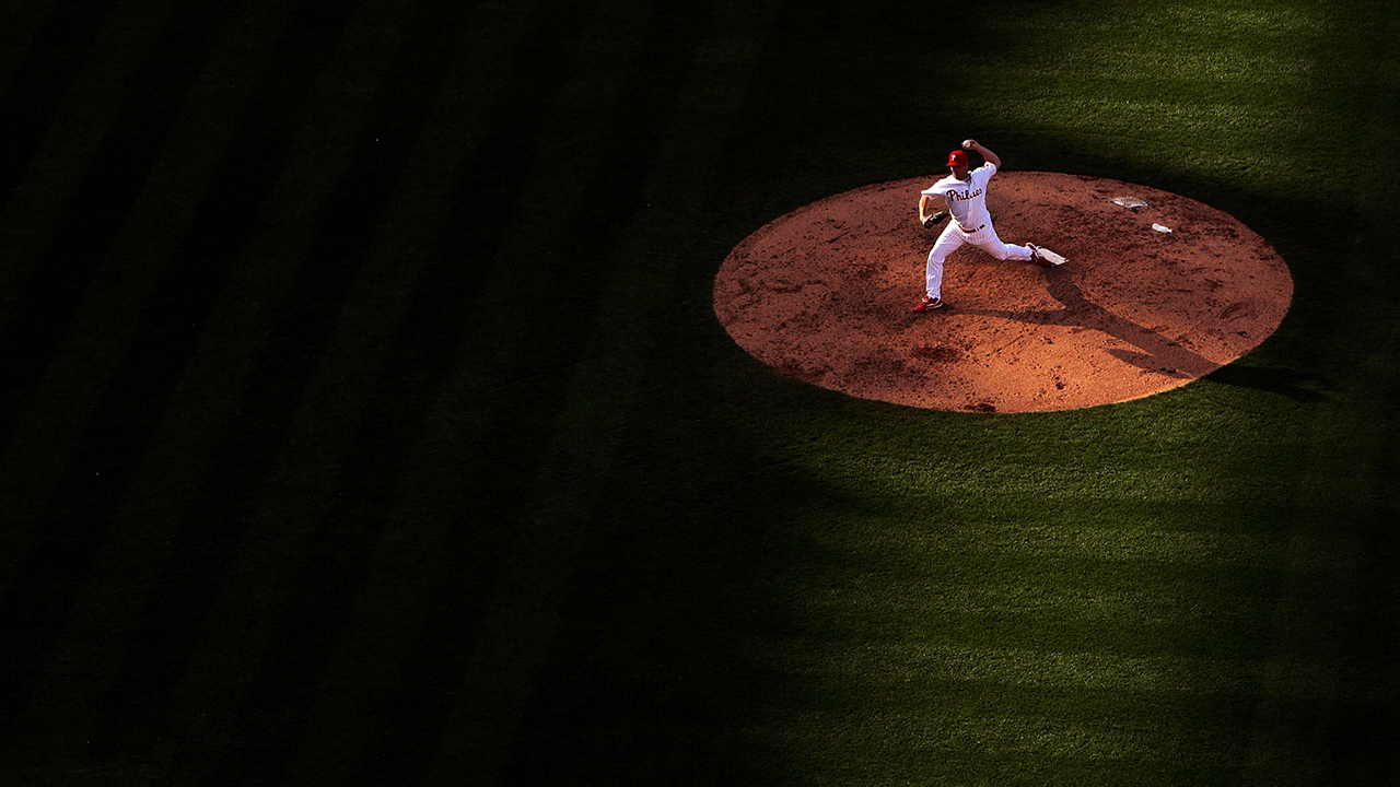 Rheal Cormier pitches, overhead shot