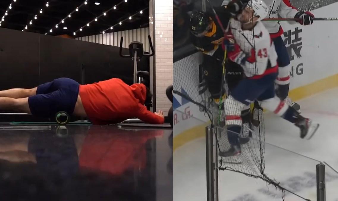Left: Tom Wilson working out. Right: Tom Wilson boarding Brandon Carlo