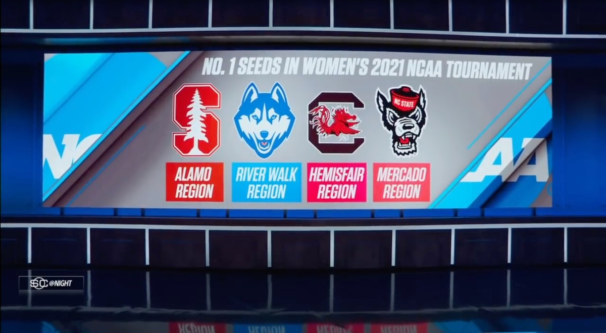 Stanford, UConn, South Carolina and NC State are top seeds in the NCAA women's tournament.