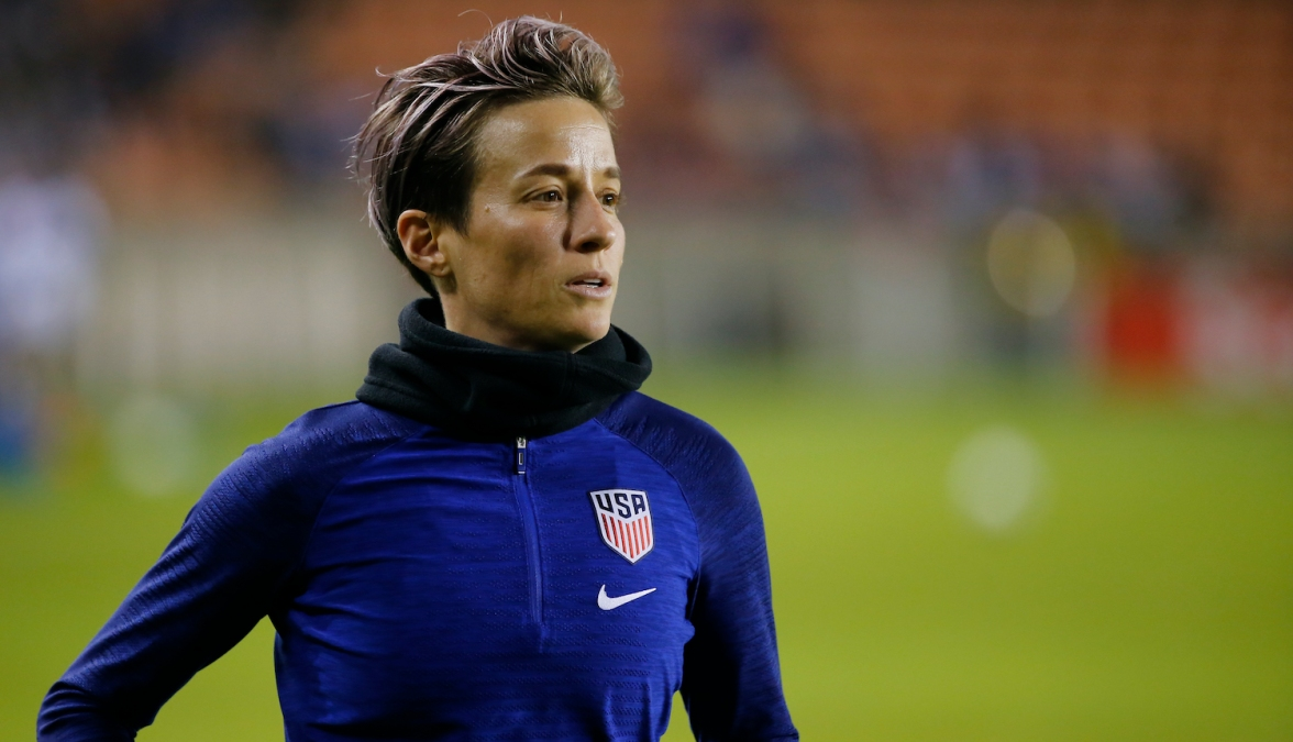 HOUSTON, TEXAS - JANUARY 28: Megan Rapinoe of the United States warms up before playing Haiti during a Group A CONCACAF Women's Olympic Qualifying match at BBVA Compass Stadium on January 28, 2020 in Houston, Texas. (Photo by Bob Levey/Getty Images)