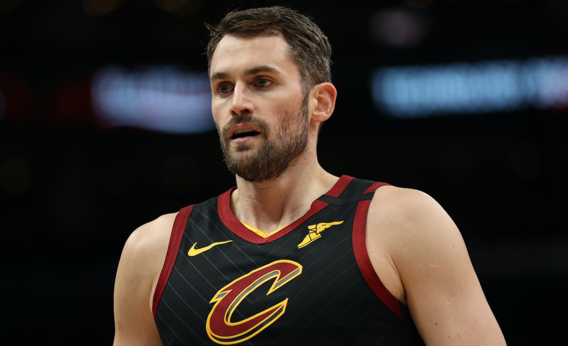 WASHINGTON, DC - FEBRUARY 21: Kevin Love #0 of the Cleveland Cavaliers looks on against the Washington Wizards at Capital One Arena on February 21, 2020 in Washington, DC. (Photo by Patrick Smith/Getty Images)