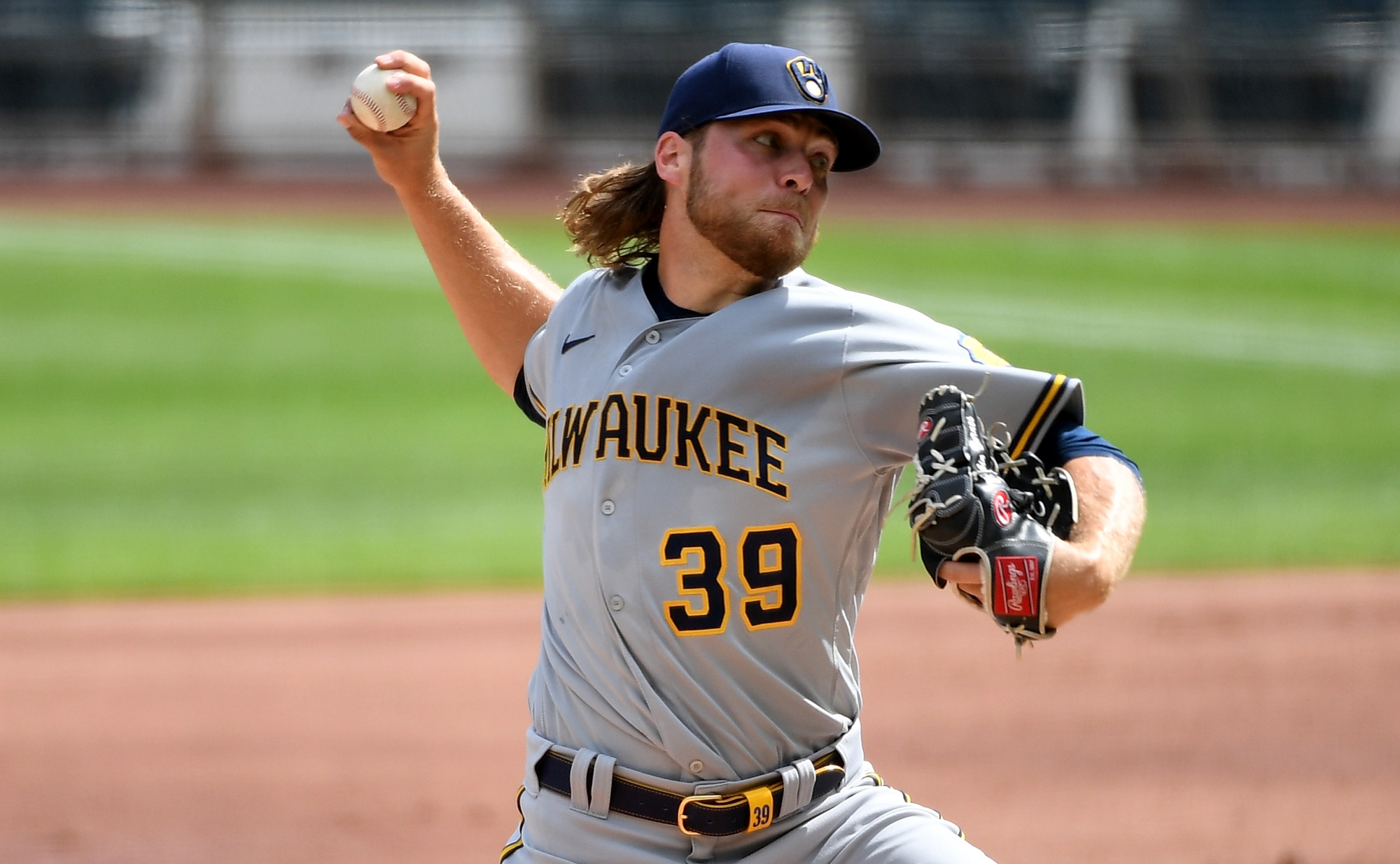 Milwaukee pitcher Corbin Burnes throws a pitch in a game against the Minnesota Twins.