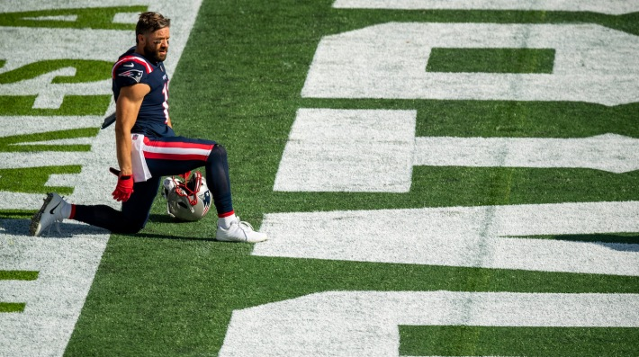 FOXBOROUGH, MA - OCTOBER 18: Julian Edelman #11 of the New England Patriots looks on before a game against the Denver Broncos at Gillette Stadium on October 18, 2020 in Foxborough, Massachusetts. (Photo by Billie Weiss/Getty Images) *** Local Caption *** Julian Edelman