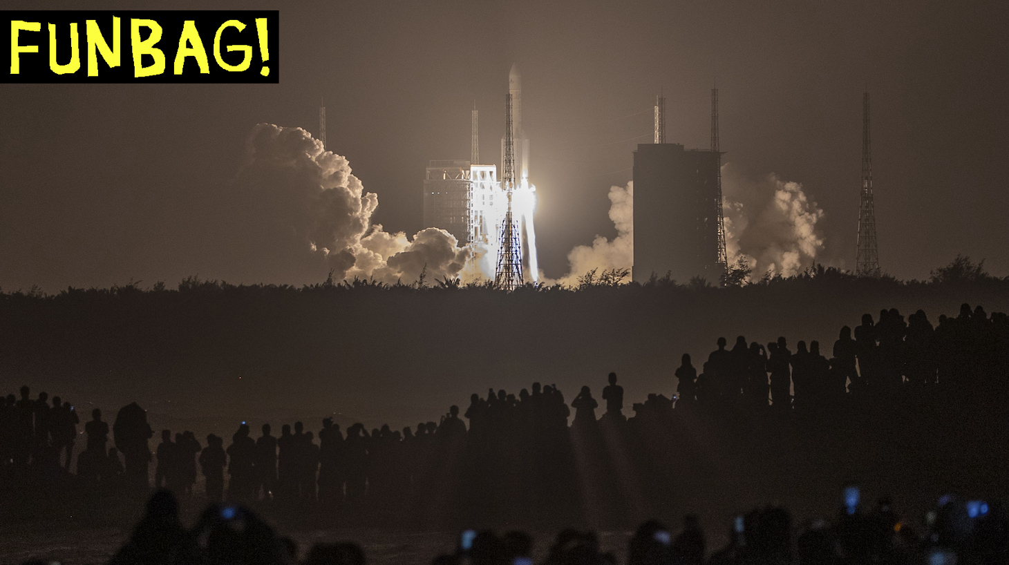 A Long March 5 rocket carrying China's Chang'e-5 lunar probe launches from the Wenchang Space Center on China's southern Hainan Island on November 24, 2020, on a mission to bring back lunar rocks, the first attempt by any nation to retrieve samples from the moon in four decades. - (Photo by STR / AFP) / China OUT (Photo by STR/AFP via Getty Images)