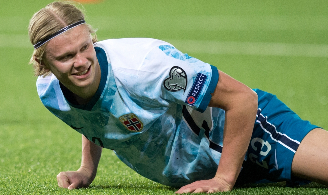Norway's forward Erling Braut Haaland lays on the field during the FIFA World Cup Qatar 2022 qualification football match between Gibraltar and Norway on March 24, 2021 at the Victoria Stadium in Gibraltar.