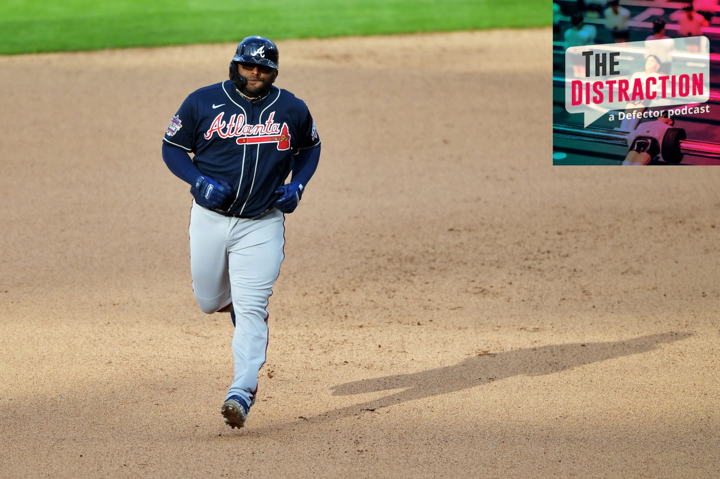Pablo Sandoval circles the bases after homering, blithely unaware of the controversy to come.