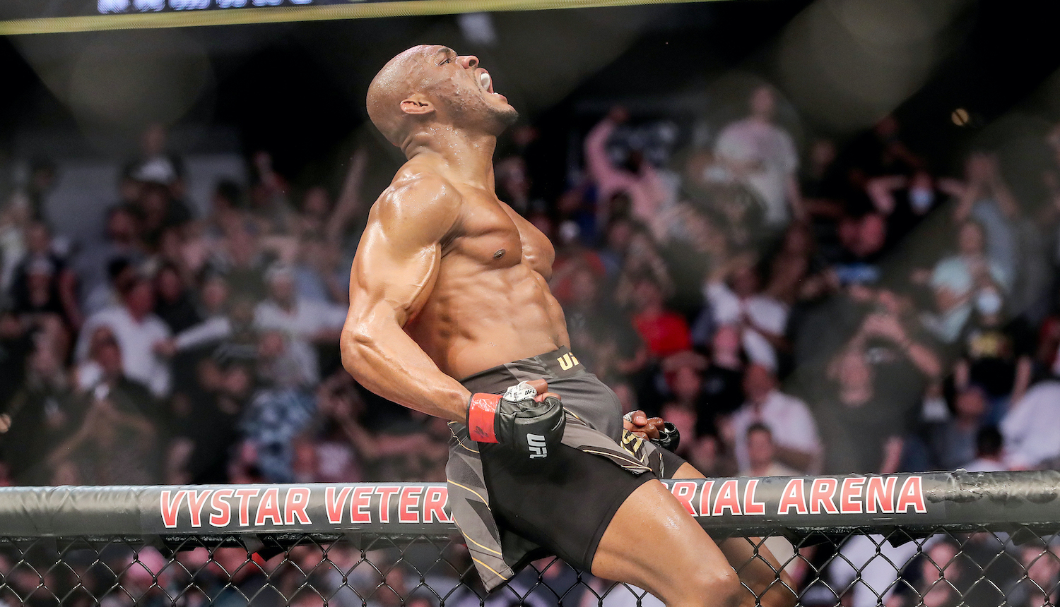 JACKSONVILLE, FL - APRIL 25: Kamaru Usman of Nigeria celebrates his victory over Jorge Masvidal of the United States during the Welterweight Title bout of UFC 261 at VyStar Veterans Memorial Arena on April 25, 2021 in Jacksonville, Florida. (Photo by Alex Menendez/Getty Images)