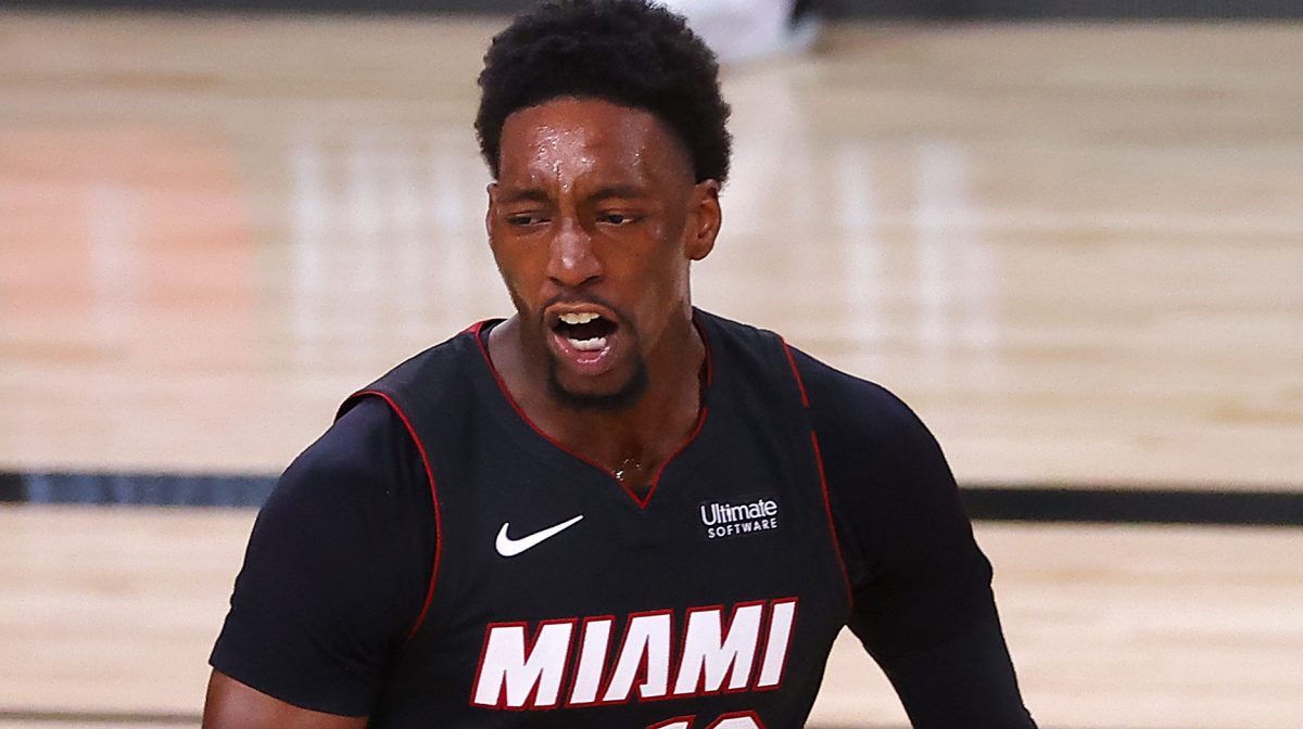 Bam Adebayo #13 of the Miami Heat reacts during the fourth quarter against the Boston Celtics in Game Six of the Eastern Conference Finals during the 2020 NBA Playoffs at AdventHealth Arena at the ESPN Wide World Of Sports Complex on September 27, 2020 in Lake Buena Vista, Florida