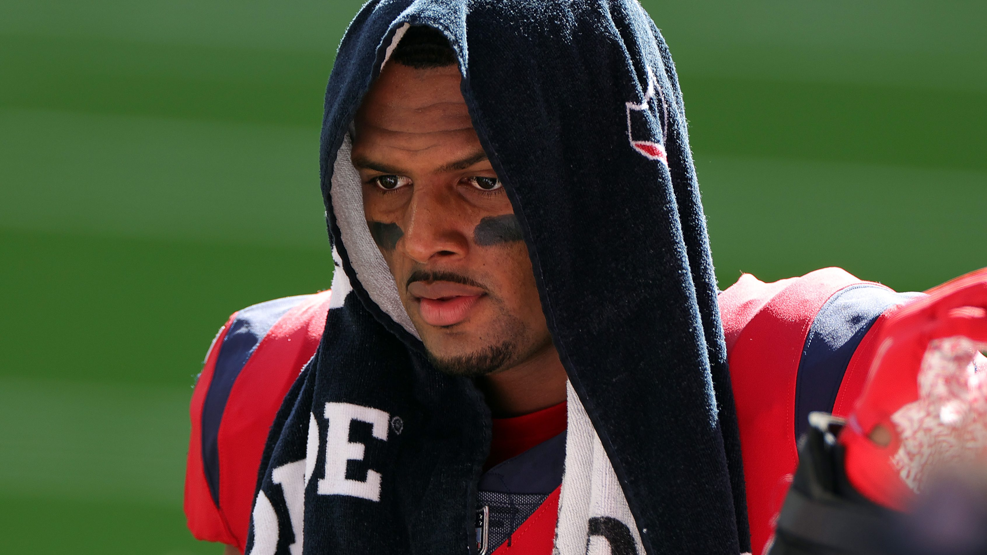 Deshaun Watson #4 of the Houston Texans reacts during the first half against the Indianapolis Colts at NRG Stadium on December 06, 2020 in Houston, Texas.