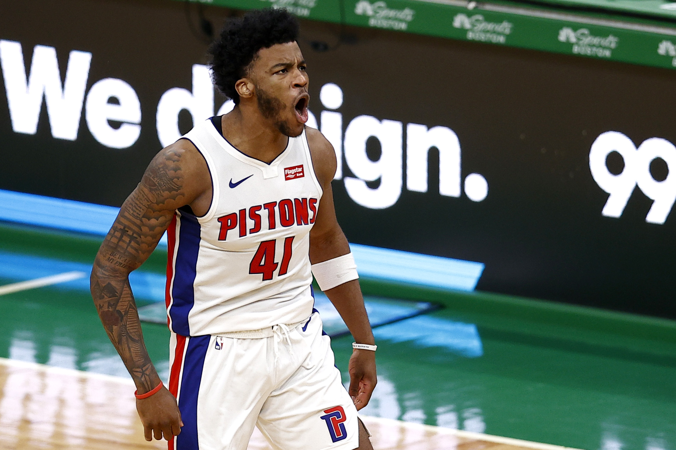 Saddiq Bey #41 of the Detroit Pistons celebrates after scoring against the Boston Celtics during the fourth quarter of the Pistons 108-102 win over the Celtics at TD Garden on February 12, 2021 in Boston, Massachusetts.