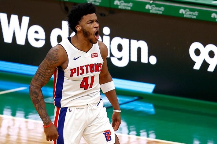 Saddiq Bey #41 of the Detroit Pistons celebrates after scoring against the Boston Celtics during the fourth quarter of the Pistons 108-102 win over the Celtics at TD Garden on February 12, 2021 in Boston, Massachusetts.