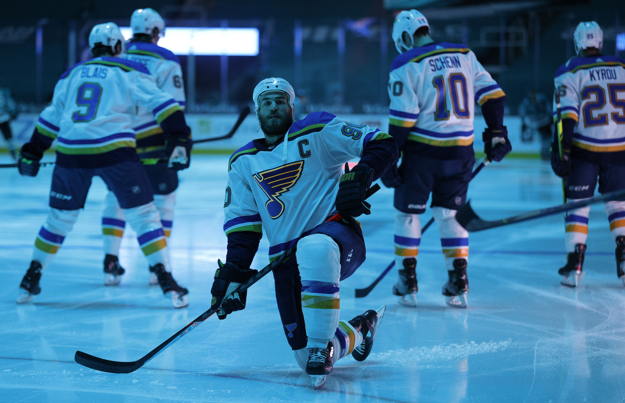 SAN JOSE, CALIFORNIA - FEBRUARY 27: Ryan O'Reilly #90 of the St. Louis Blues warms up before their game against the San Jose Sharks at SAP Center on February 27, 2021 in San Jose, California. (Photo by Ezra Shaw/Getty Images)