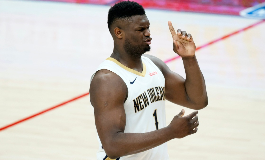 PORTLAND, OREGON - MARCH 18: Zion Williamson #1 of the New Orleans Pelicans reacts during the first quarter against the Portland Trail Blazers at Moda Center on March 18, 2021 in Portland, Oregon. NOTE TO USER: User expressly acknowledges and agrees that, by downloading and or using this photograph, User is consenting to the terms and conditions of the Getty Images License Agreement. (Photo by Steph Chambers/Getty Images)