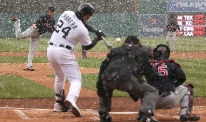 Miguel Cabrera #24 of the Detroit Tigers hits a first inning two run home run off of a pitch from Shane Bieber #57 of the Cleveland Indians during Opening Day at Comerica Park on April 01, 2021 in Detroit, Michigan. (Photo by Gregory Shamus/Getty Images)