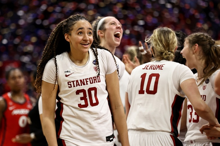 Haley Jones #30 of the Stanford Cardinal celebrates a team win against the Arizona Wildcats in the National Championship game of the 2021 NCAA Women's Basketball Tournament at the Alamodome on April 04, 2021 in San Antonio, Texas.