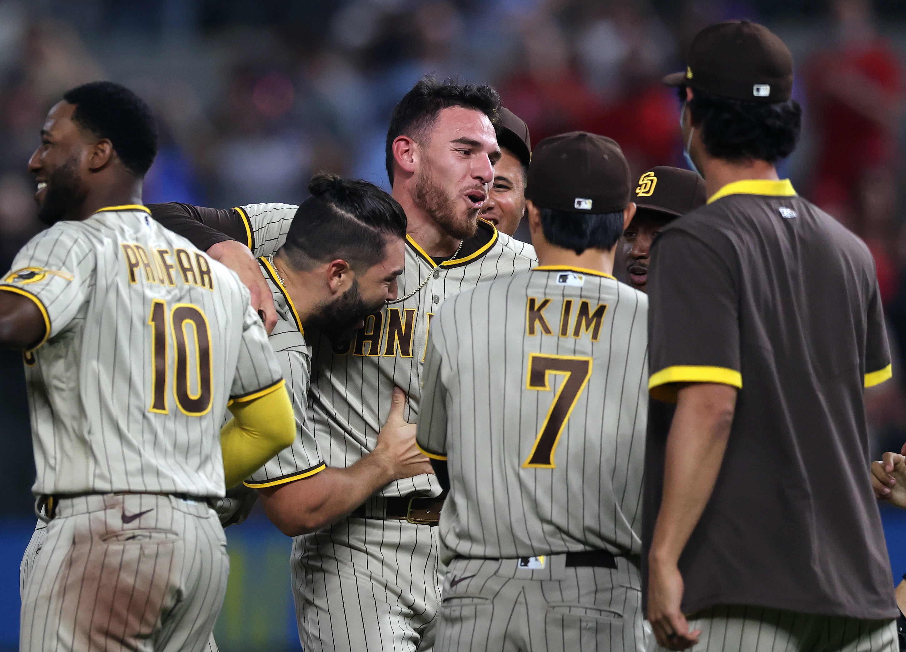 Joe Musgrove #44 of the San Diego Padres after pitching a no-hitter against the Texas Rangers at Globe Life Field on April 09, 2021 in Arlington, Texas.