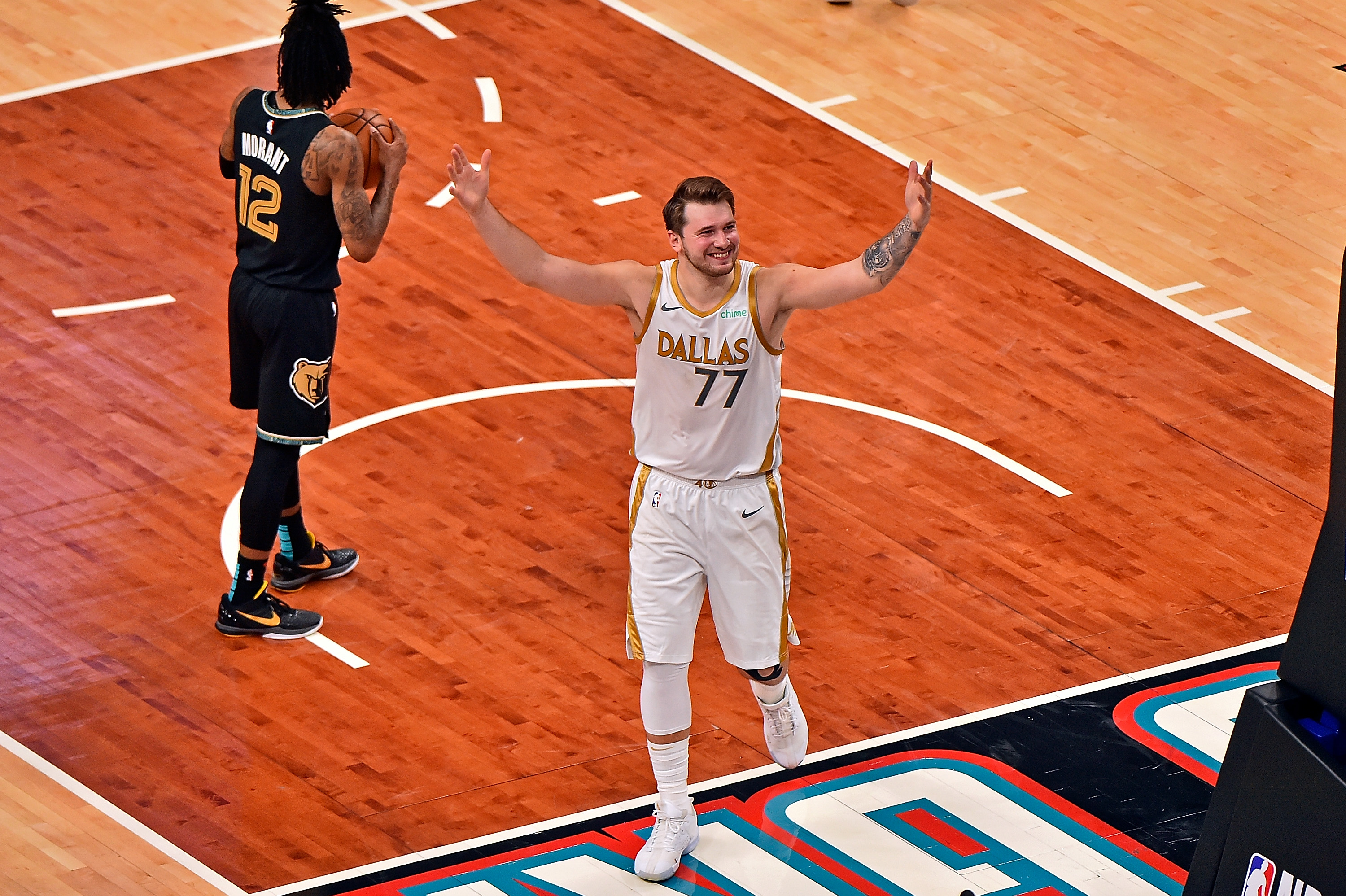 Luka Doncic celebrates after hitting a game-winner.