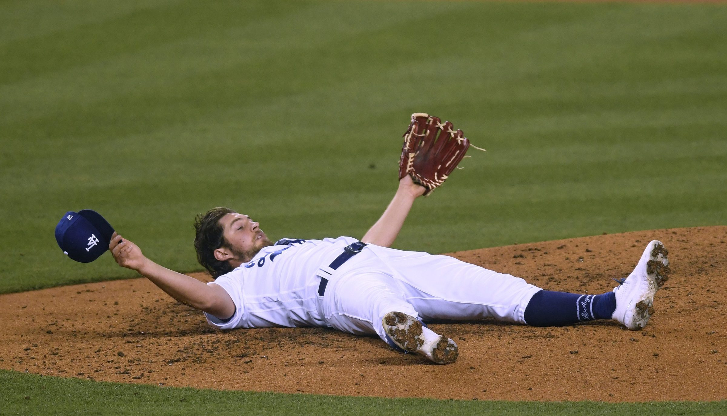 Trevor Bauer lies on the mound, tragically un-owned.