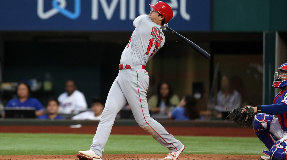 Shohei Ohtani #17 of the Los Angeles Angels hits a double against the Texas Rangers in the second inning at Globe Life Field on April 26, 2021 in Arlington, Texas.