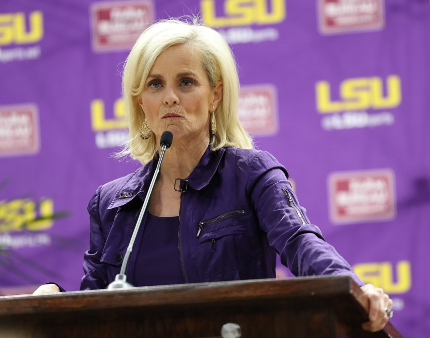 Kim Mulkey, the newly hired women's basketball coach at Louisiana State University, speaks during a press conference at Pete Maravich Assembly Center on April 26, 2021 in Baton Rouge, Louisiana.