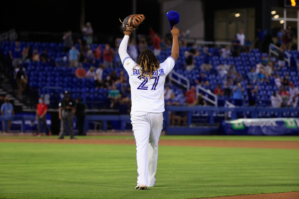 Vlad Jr. waves to fans after his team beat the hell out of the Washington Nationals.