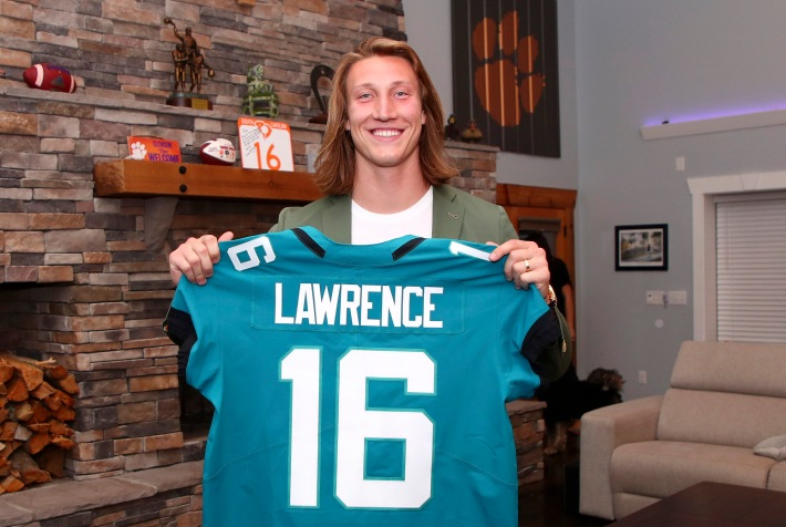 Clemson quarterback Trevor Lawrence is selected to the Jacksonville Jaguars during the 2021 NFL Draft on Thursday, April 29, 2021 in Seneca, South Carolina. (Logan Bowles/NFL)