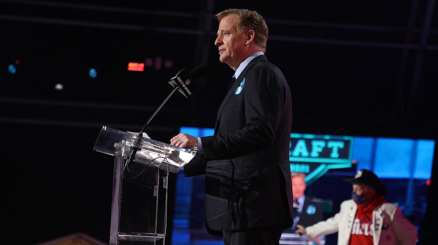 CLEVELAND, OHIO - APRIL 29: NFL Commissioner Roger Goodell announces Gregory Rousseau being selected 30th by the Buffalo Bills during round one of the 2021 NFL Draft at the Great Lakes Science Center on April 29, 2021 in Cleveland, Ohio. (Photo by Gregory Shamus/Getty Images)