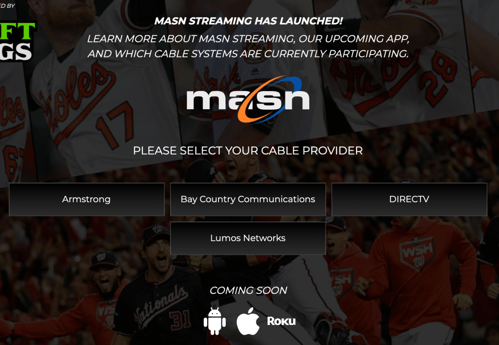 The launch page of the new streaming service operated by Mid-Atlantic Sports Network. It's pathetic.