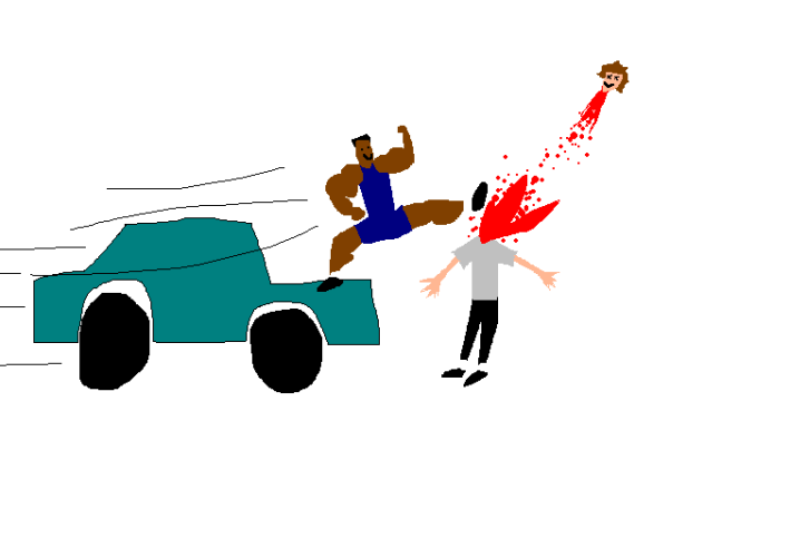 A doodle of Zion Williamson kicking my head off from the hood of a speeding Jeep.