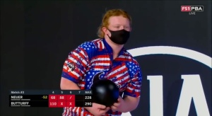 Anthony Neuer, an 18-year-old bowler, right before he hits a 7-10 split.