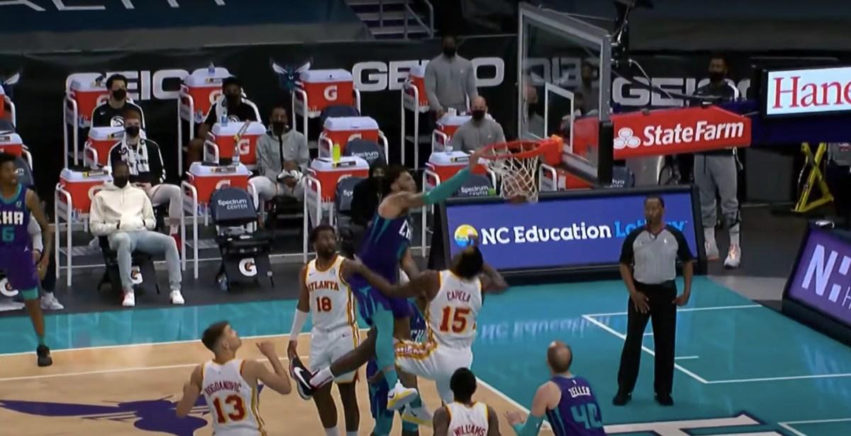 Miles Bridges unleashes a big-time dunk over Clint Capela