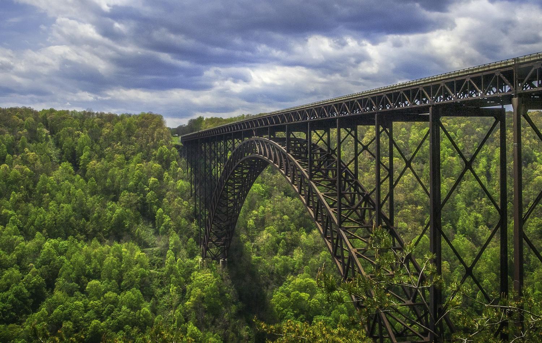 New River Gorge's iconic steel arch bridge.
