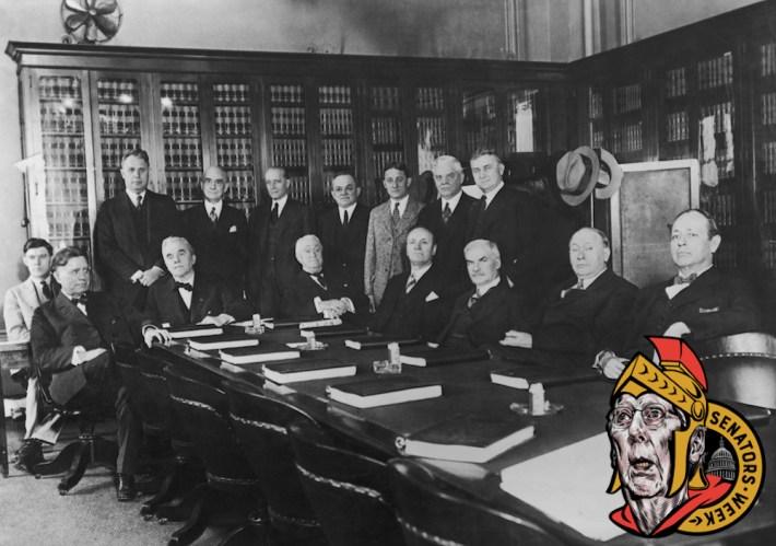 A Senate Judiciary Committee ready to discuss prohibition enforcement, Washington, circa 1925.