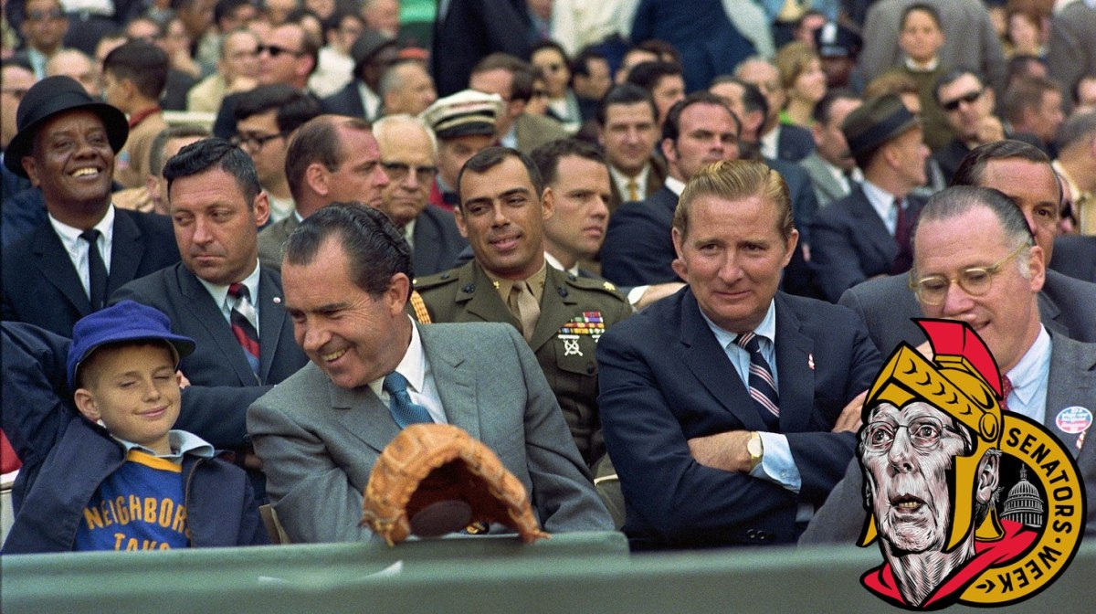 """President Nixon holds """"a frank exchange of views"""" with a young basefall fan at the Washington Senators' Opening Day game versus the New York Yankees at RFK Stadium"""