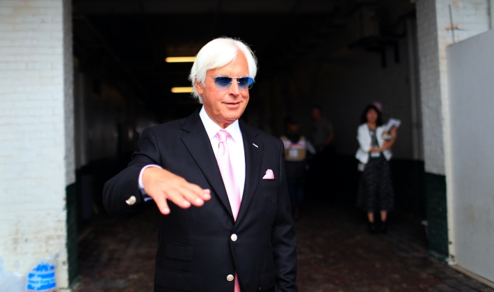 LOUISVILLE, KENTUCKY - MAY 03: Kentucky Derby trainer Bob Baffert looks on before the 145th running of the Kentucky Oaks at Churchill Downs on May 3, 2019 in Louisville, Kentucky. (Photo by Tom Pennington/Getty Images)